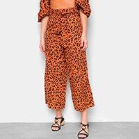 Calça Pantalona Farm Animal Print Onça Amarração Feminina - Amarelo