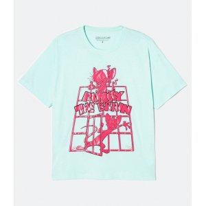 Blusa Oversized Alongada Estampa Pink e Cérebro Texturizada