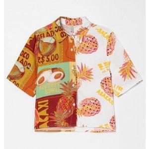 Camisa Manga Curta Estampa Frutas