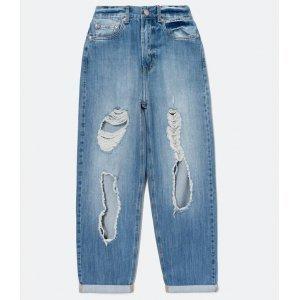 Calça Dad Jeans com Puídos