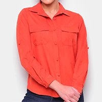 Camisa Favorita\'S Manga Longa Lisa Feminina - Laranja