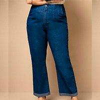 Quintess - Calça Jeans Reta de Cintura Alta com Pregas