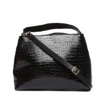 Bolsa Vizzano Handbag Croco Alto Brilho Feminina - Preto