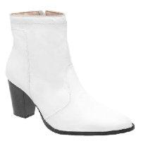 Bota Couro Cano Curto D&R Shoes Salto Grosso Feminina - Branco