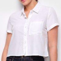 Camisa Favorita\'S Manga Curta Bolso Feminina - Branco