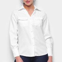 Camisa Favorita\'s Manga Longa Bolsos Feminina - Branco
