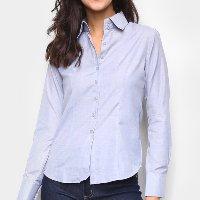 Camisa Giovanna Bianco Lisa Manga Longa Feminina - Azul
