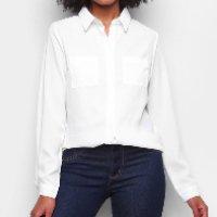 Camisa Yutz Manga Longa Bolsos Feminina - Branco