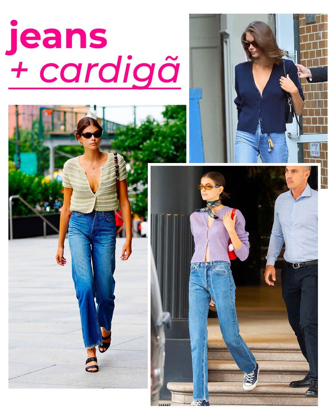 Kaia Gerber - Calça jeans reta - Cardigã - Verão - Street Style - https://stealthelook.com.br
