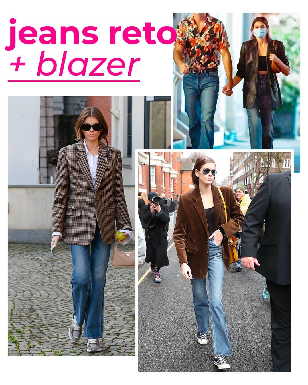 Kaia Gerber - Calça jeans - Blazer - Verão - Street Style - https://stealthelook.com.br