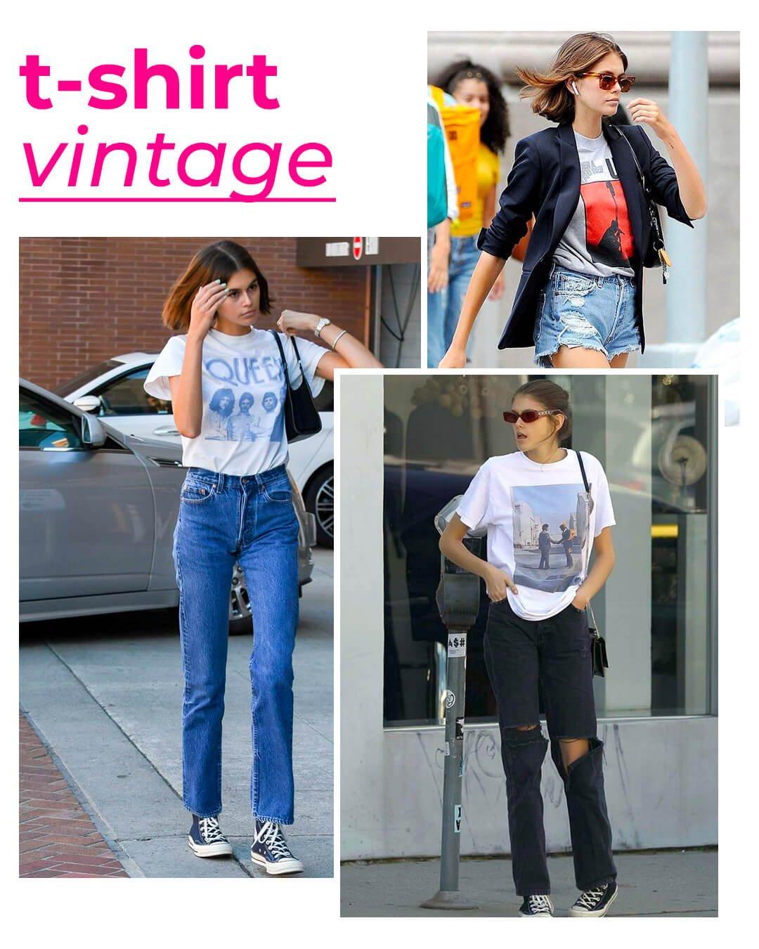 Kaia Gerber - T-shirt vintage - T-shirt - Verão - Street Style - https://stealthelook.com.br