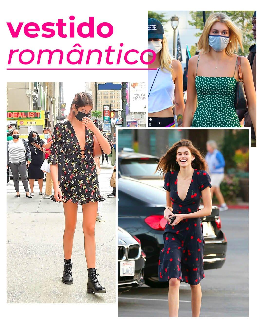 Kaia Gerber - Vestido romântico - Vestido - Verão - Street Style - https://stealthelook.com.br
