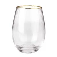 Copo de Vidro Transparente e Dourado 580ml