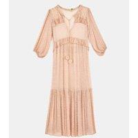 vestido longo bordado decote
