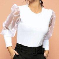 Quintess - Blusa Branca Mangas Bufantes com Transparência