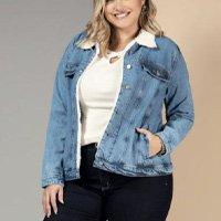 Quintess - Jaqueta Jeans com Bolsos e Abertura em Botões