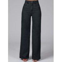 Quintess - Calça Pantalona com Bolsos Jeans Preto