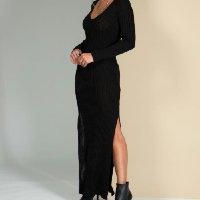 Quintess - Vestido Longo Preto em Tricô Ajustado