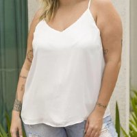REGATA LISA ALÇA FINA COM REGULADOR CURVE & PLUS SIZE BRANCO