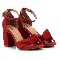 Sandália Griffe Salto Grosso Nó Feminina - Vermelho Escuro