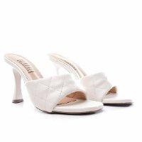 Sandália Tamanco Glendale Off White Salto Taça Feminina - Branco