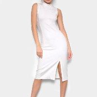 Vestido Avanzi Tubinho Midi Gola Alta Com Fenda - Off White