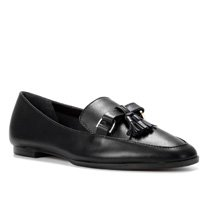 Mocassim Couro Shoestock Bico Quadrado Tassel Feminino - Preto