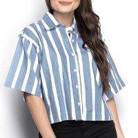 Camisa Feminina Cropped Listrada Manga Três Quartos Casual - Azul e Branco