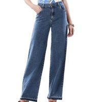 Calça Maria.Valentina Pantalona M.Lucia Cós Intermediário Barra Desfiada Jeans Feminina - Azul