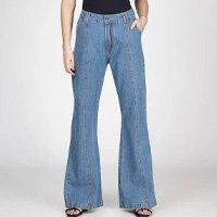 Calça Jeans Pantalona Com Recorte Bloom Feminina - Azul