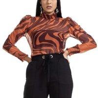 Blusa Clara Arruda Tule Estampado Imperial 20648 - Vermelho e Marinho