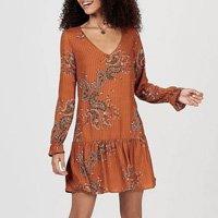 Vestido Em Tecido Texturizado De Viscose Estampado - HA4E1AEN5 Feminino - Marrom