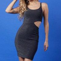 Vestido Curto Recorte Brilho Mercatto Feminino - Preto