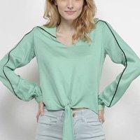Camisa Acostamento Manga Longa Amarração Feminina - Verde