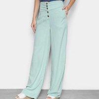 Calça Pantalona Cambos Com Bolsos E Botões Cintura Alta Feminina - Verde