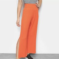 Calça Pantalona Colcci Canelada Cintura Alta Feminina - Laranja