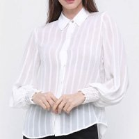 Camisa Manga Longa Maria Filó Listrada Fios Lurex Feminina - Off White
