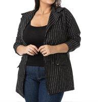 Blazer Alongado Risca de Giz Plus Size Confidencial Extra Feminina - Preto
