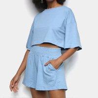 Conjunto Dooplex Amplo Cropped + Short Feminino - Azul