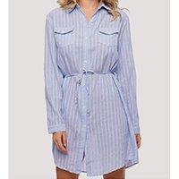 Vestido Sob Listrado Camisa em Algodão Feminino - Azul