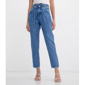 Calça Jeans Mom com Amarração na Cintura