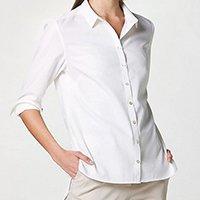 Camisa Hering Básica Manga Longa de Algodão Feminina - Branco