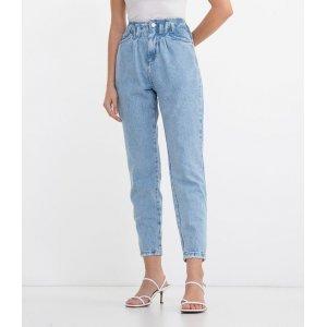 Calça Jeans Baggy com Bolsos Lisa