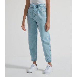 Calça Baggy Jeans Lisa com Cinto Faixa