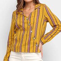 Camisa Lily Fashion Listrada Transpasse Feminina - Mostarda