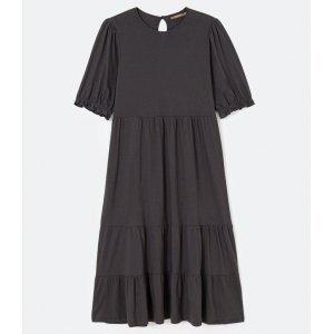 Vestido Midi Liso com Babados e Mangas Bufantes Curve & Plus Size