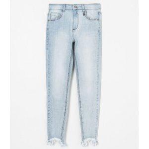Calça Skinny Jeans com Barra Desfiada