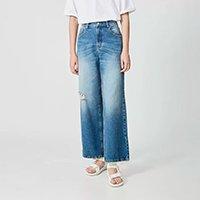 Calça Jeans Amapô Pantalona Lara Feminina - Azul