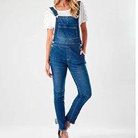 Jardineira Zinzane Skinny Used Feminino - Jeans