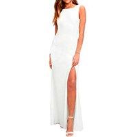 Vestido Longo com Fenda Costa Nua Regata Feminino - Branco